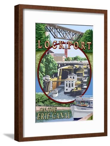 Lockport, New York - Montage Poster-Lantern Press-Framed Art Print