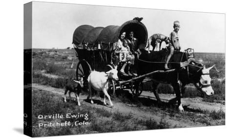 Pritchett, Colorado - Orville Ewing; Covered Wagon Scene-Lantern Press-Stretched Canvas Print