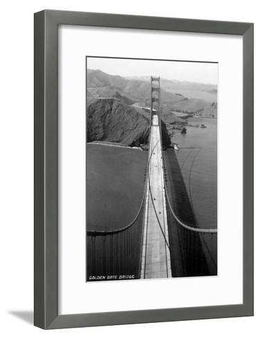 San Francisco, California - Golden Gate Bridge from Bridge Pinnacle-Lantern Press-Framed Art Print