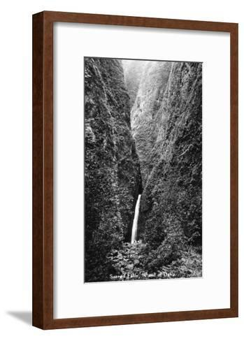 Hawaii - Sacred Falls on Oahu Island-Lantern Press-Framed Art Print