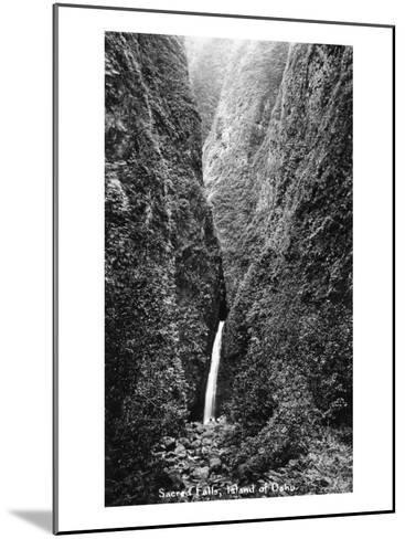 Hawaii - Sacred Falls on Oahu Island-Lantern Press-Mounted Art Print