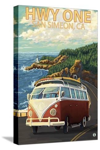 San Simeon, CA - VW Van Coastal Drive-Lantern Press-Stretched Canvas Print