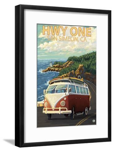 San Simeon, CA - VW Van Coastal Drive-Lantern Press-Framed Art Print