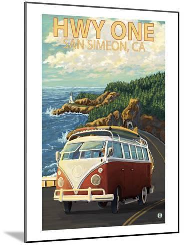 San Simeon, CA - VW Van Coastal Drive-Lantern Press-Mounted Art Print