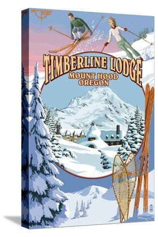 Timberline Lodge - Winter Views - Mt. Hood, Oregon-Lantern Press-Stretched Canvas Print