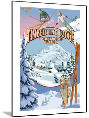 Timberline Lodge - Winter Views - Mt. Hood, Oregon-Lantern Press-Mounted Art Print