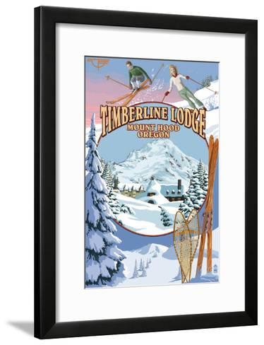Timberline Lodge - Winter Views - Mt. Hood, Oregon-Lantern Press-Framed Art Print