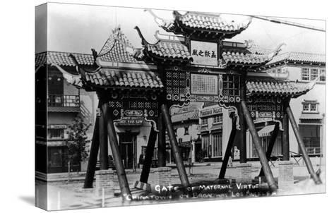 Los Angeles, California - Chinatown; Gate of Maternal Virtue on Broadway-Lantern Press-Stretched Canvas Print
