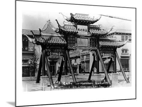 Los Angeles, California - Chinatown; Gate of Maternal Virtue on Broadway-Lantern Press-Mounted Art Print