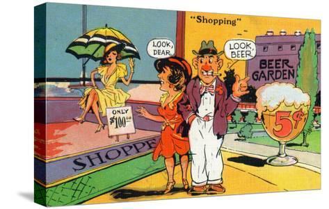 Comic Cartoon - Shopping Scene; Woman Says Look Dear, Husband Says Look Beer-Lantern Press-Stretched Canvas Print