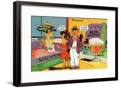 Comic Cartoon - Shopping Scene; Woman Says Look Dear, Husband Says Look Beer-Lantern Press-Framed Art Print