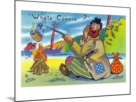 Comic Cartoon - Bum Cooking A Can; What's Cookin?-Lantern Press-Mounted Art Print
