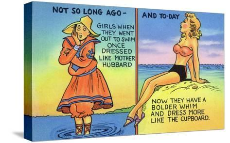 Comic Cartoon - Mother Hubbard Pun; Girls at the Beach Used to Dress Like Mother Hubbard-Lantern Press-Stretched Canvas Print