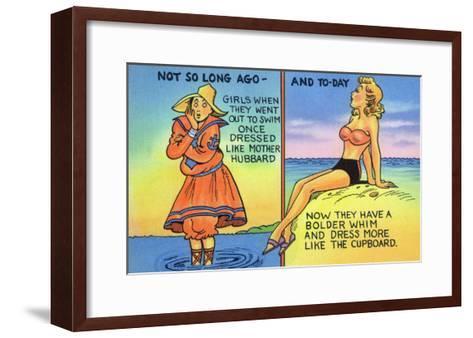 Comic Cartoon - Mother Hubbard Pun; Girls at the Beach Used to Dress Like Mother Hubbard-Lantern Press-Framed Art Print