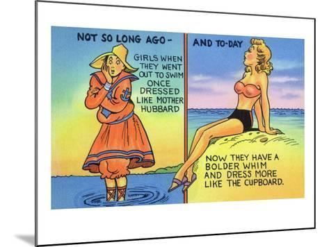 Comic Cartoon - Mother Hubbard Pun; Girls at the Beach Used to Dress Like Mother Hubbard-Lantern Press-Mounted Art Print