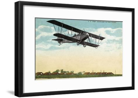 View of a US Army Aeroplane in Flight-Lantern Press-Framed Art Print