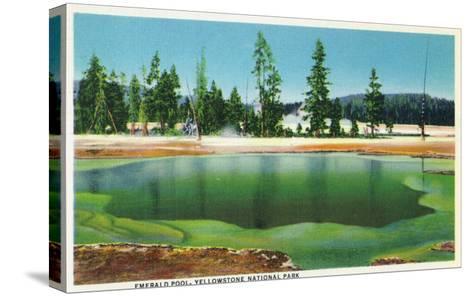 Yellowstone Nat'l Park, Wyoming - Emerald Pool Scene-Lantern Press-Stretched Canvas Print