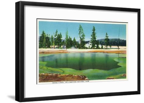 Yellowstone Nat'l Park, Wyoming - Emerald Pool Scene-Lantern Press-Framed Art Print