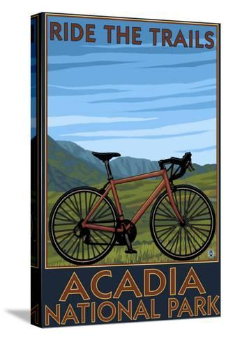 Acadia National Park, Maine - Bicycle Scene-Lantern Press-Stretched Canvas Print