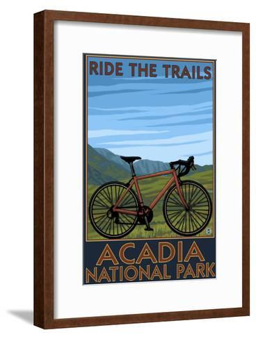 Acadia National Park, Maine - Bicycle Scene-Lantern Press-Framed Art Print