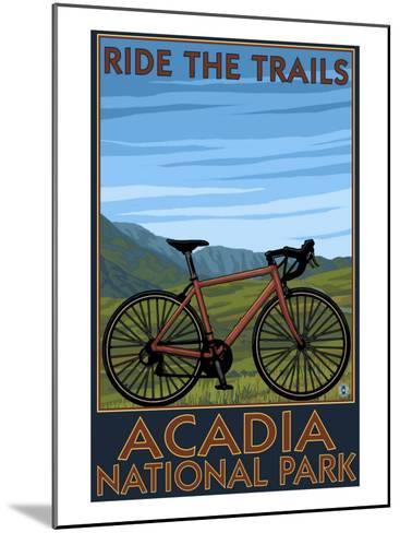 Acadia National Park, Maine - Bicycle Scene-Lantern Press-Mounted Art Print