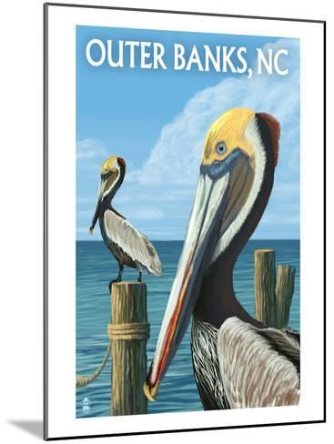 Outer Banks, North Carolina - Pelicans-Lantern Press-Mounted Art Print