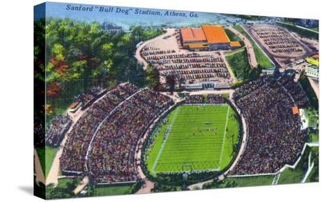 Athens, Georgia - Aerial View of Sanford (Bull Dog) Stadium-Lantern Press-Stretched Canvas Print
