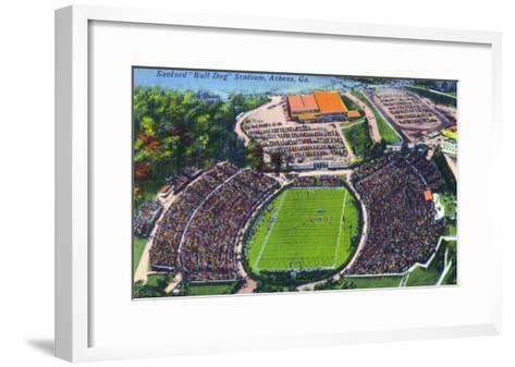 Athens, Georgia - Aerial View of Sanford (Bull Dog) Stadium-Lantern Press-Framed Art Print