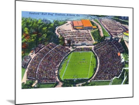 Athens, Georgia - Aerial View of Sanford (Bull Dog) Stadium-Lantern Press-Mounted Art Print