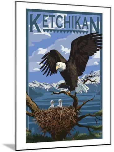 Bald Eagle & Chicks - Ketchikan, Alaska-Lantern Press-Mounted Art Print