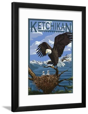 Bald Eagle & Chicks - Ketchikan, Alaska-Lantern Press-Framed Art Print