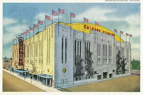 Chicago, Illinois - Chicago Stadium Exterior View-Lantern Press-Stretched Canvas Print