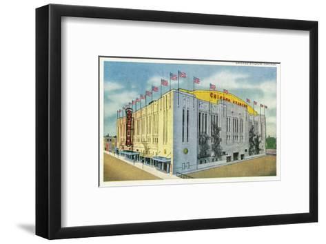 Chicago, Illinois - Chicago Stadium Exterior View-Lantern Press-Framed Art Print