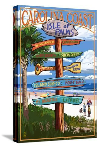 Isle of Palms, South Carolina - Destinations Sign-Lantern Press-Stretched Canvas Print