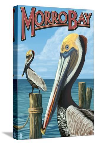 Morro Bay, CA - Pelicans-Lantern Press-Stretched Canvas Print