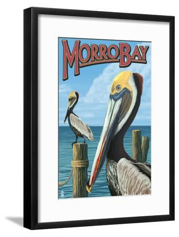 Morro Bay, CA - Pelicans-Lantern Press-Framed Art Print