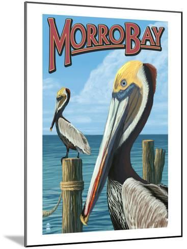 Morro Bay, CA - Pelicans-Lantern Press-Mounted Art Print