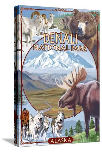 Denali National Park, Alaska - Park Views-Lantern Press-Stretched Canvas Print