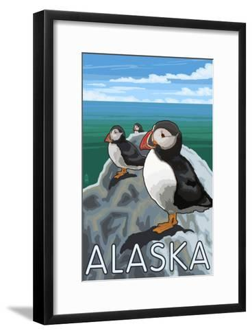 Alaska - Puffins on Rock-Lantern Press-Framed Art Print