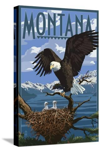 Montana - Eagle Perched with Chicks-Lantern Press-Stretched Canvas Print
