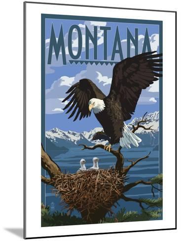 Montana - Eagle Perched with Chicks-Lantern Press-Mounted Art Print