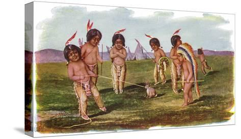 Native American Children with a Rabbit-Lantern Press-Stretched Canvas Print