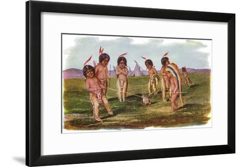 Native American Children with a Rabbit-Lantern Press-Framed Art Print