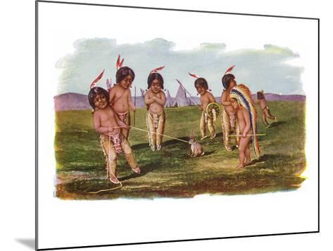 Native American Children with a Rabbit-Lantern Press-Mounted Art Print