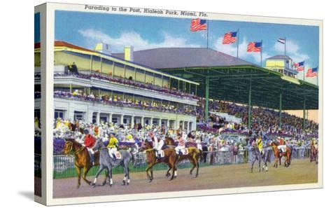 Miami, Florida - Hialeah Park; Parading to the Post Scene-Lantern Press-Stretched Canvas Print
