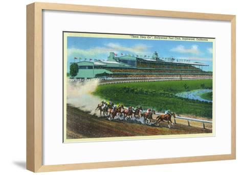 Inglewood, California - Hollywood Turf Club View of a Horse Race-Lantern Press-Framed Art Print