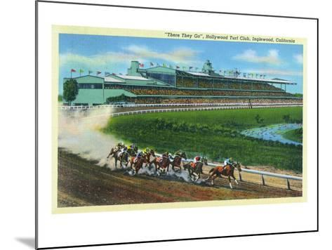 Inglewood, California - Hollywood Turf Club View of a Horse Race-Lantern Press-Mounted Art Print