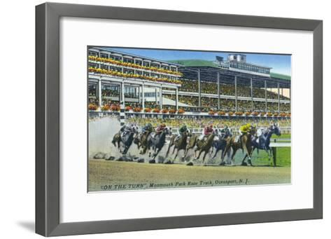 Oceanport, New Jersey - Monmouth Park Race Track Scene-Lantern Press-Framed Art Print