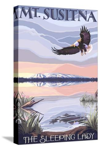 Mt. Susitna, Alaska - The Sleeping Lady-Lantern Press-Stretched Canvas Print