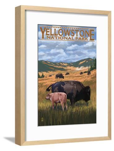 Bison and Calf Grazing - Yellowstone National Park-Lantern Press-Framed Art Print